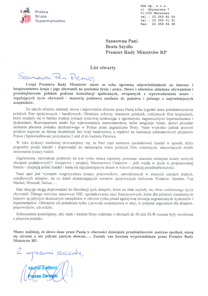 Aktualności - List do premier Beaty Szydło, Polska Grupa Supermarketów PGS